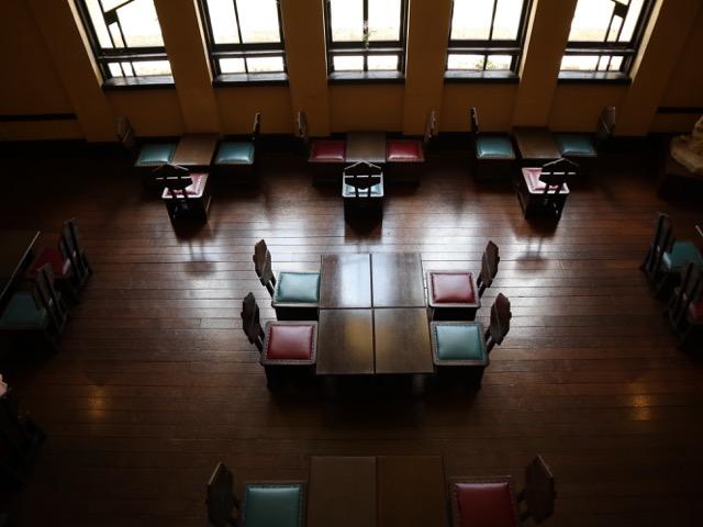 中央棟(旧礼拝堂)喫茶室見下ろし